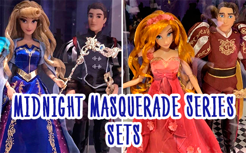 First pictures of D23 Disney Limited Edition Midnight Masquerade doll sets: Aurora and Phillip, Tiana and Naveen, Giselle and Edward