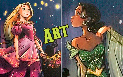 Disney Designer Collection Midnight Masquerade art images of Belle, Cinderella, Esmeralda, Tiana, Rapunzel, Meg, Aurora and Giselle