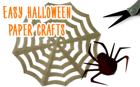 Paper craft: How to make halloween origami cat, bat and spider web «snowflakes»