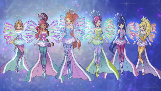 All Winx in Crystal Sirenix transformation from season 8