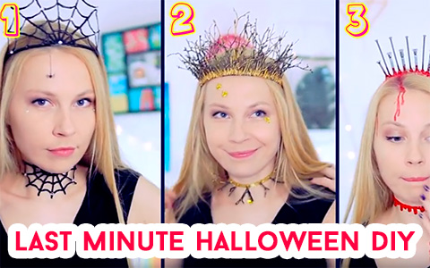 Last Minute Halloween Costume ideas - 6 DIY Chokers And Crowns