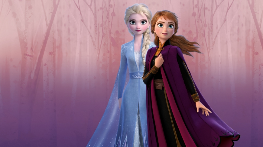 Elsa and Anna and enchanted forest[