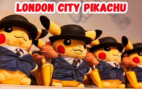 London City Pikachu - most wanted toy from Pokemon Center London. Customers wait in 4 hours queue for it.