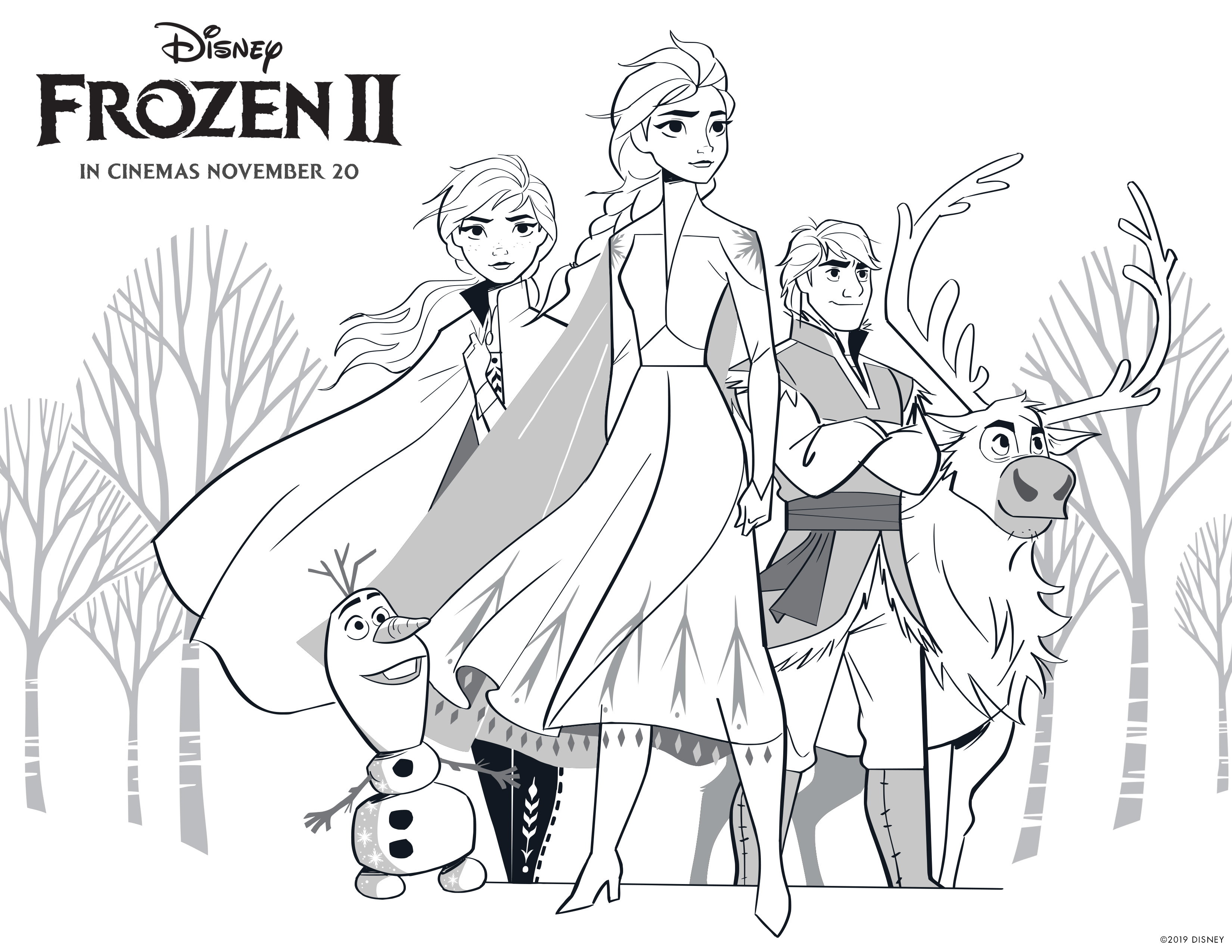 Frozen 2 Free Coloring Pages With Elsa Anna Olaf Kristoff Bruni And Nokk Youloveit Com