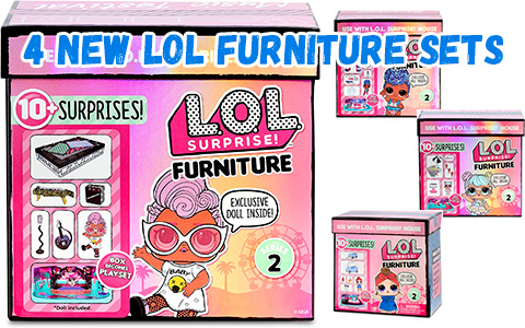 4 New LOL Surprise Furniture series 2 sets Road Trip, Music Festival, Ice Cream Pop-Up and Furniture Backstage are listed online