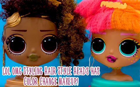 New LOL OMG Royal Bee and Neonlicious Styling Hair Style Heads has Color Change Makeup!