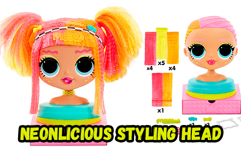 LOL Surprise OMG Styling Head Neonlicious stock images