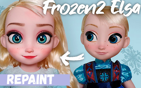 Baby Elsa doll repainted to Frozen 2 with loose hair look