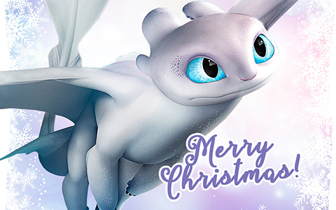 Merry Christmas cards How to Train your Dragon with Light fury, Toothless and Hiccup
