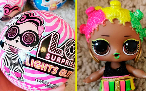 First live images of new LOL Surprise Lights Glitter dolls and black light torch that comes with the ball