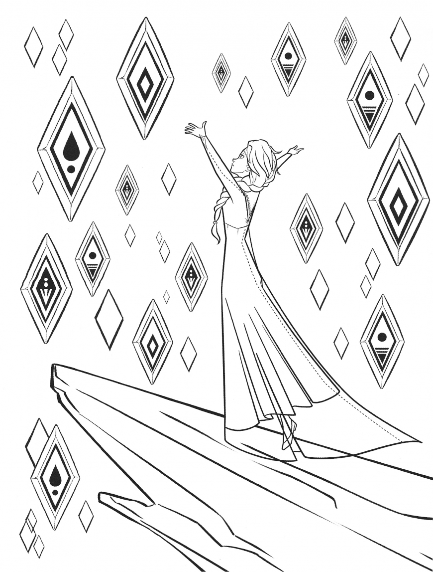 Frozen 2 free coloring pages with Elsa