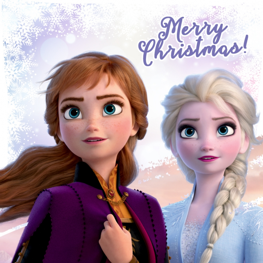 Merry Christmas card Elsa and Anna Frozen 2