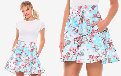 We found best skirt for this spring - new Disney Mulan Cherry Blossom Skater Skirt from HOT TOPIC