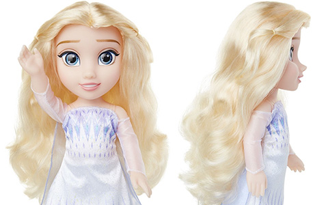 Frozen 2 Elsa the Snow Queen doll  in white dress with her hair down by Jakks Pacific