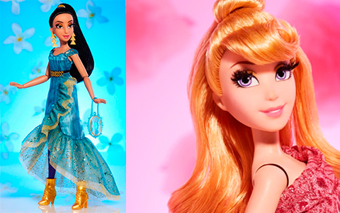 Promo images of Princess Jasmine and Aurora Style Series dolls
