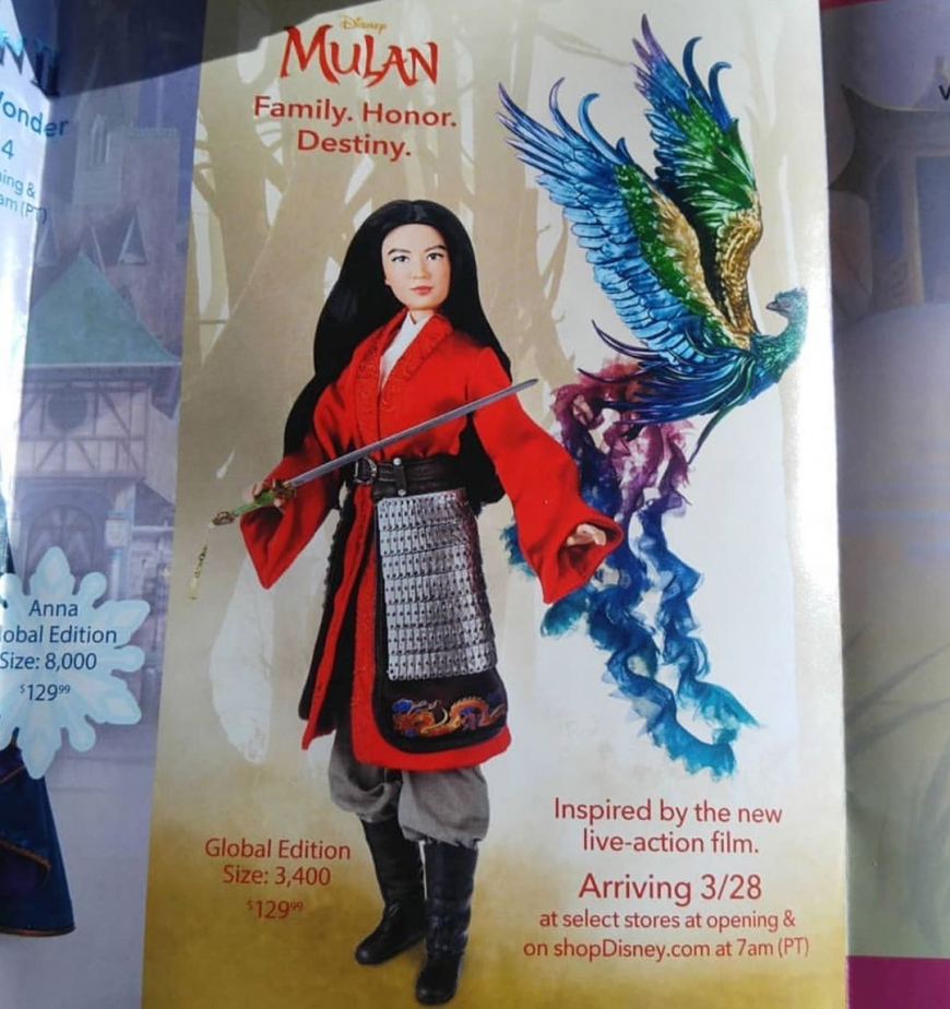 Live action Mulan Limited Edition doll with phoenix. First image and release date