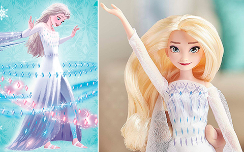 New Frozen 2 singing dolls: Elsa in white dress and Anna Queen from Hasbro