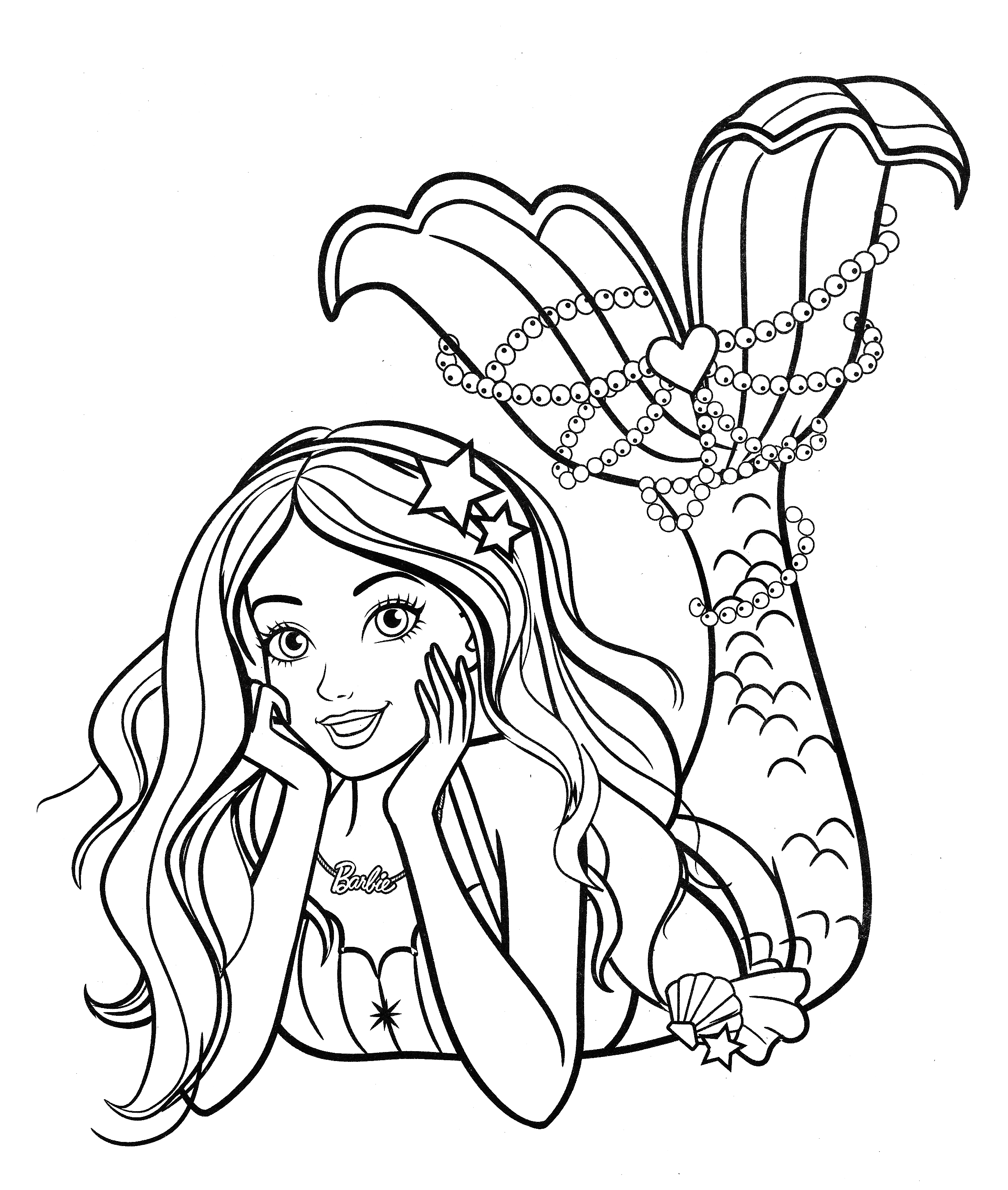 Beautiful mermaid Barbie coloring pages - YouLoveIt.com