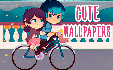 Supet cute phone wallpapers with Cat Blanc, Marinette and Luka on bike, and Kagami and Adrien