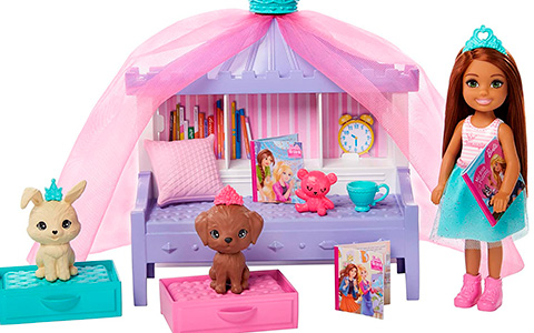 Barbie Princess Adventure Chelsea Sleepover with books and Pet Castle doll sets