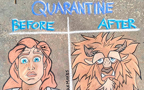 Disney characters about quarantine in beautiful sidewalk chalk drawings