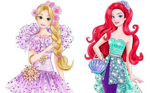 Beautiful concept art for Disney Princess Style series dolls