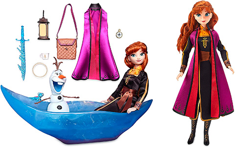 Disney Store Anna and Olaf with boat new doll set