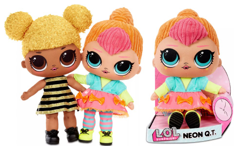 L.O.L. Surprise! Huggable Plush Queen Bee and Neon QT dolls