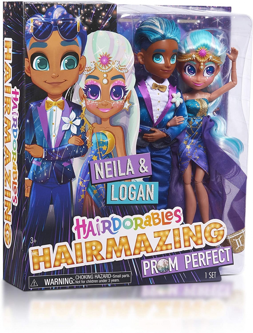 Hairdorables Hairmazing Prom Perfect 2-Pack Neila and Logan dolls