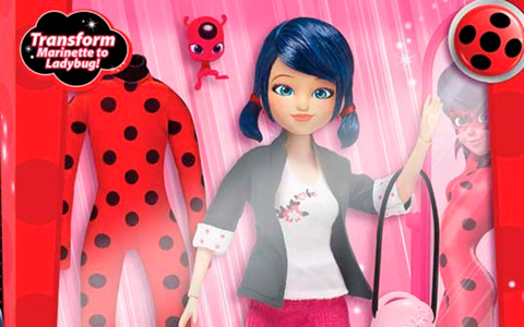 Miraculous Marinette transform to Ladybug doll with 2 outfits and detachable mask