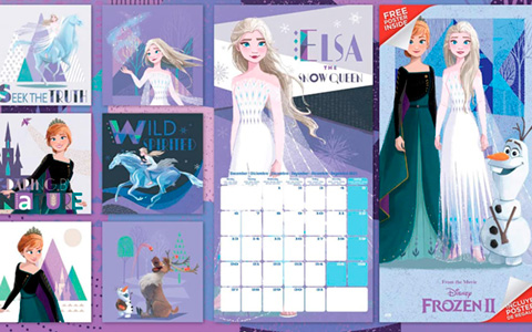 Frozen 2 wall Calendar 2021 with new official art and bonus poster