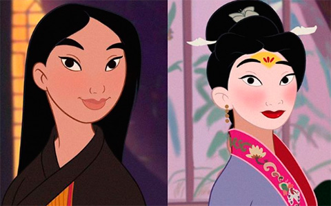 Mulan from animated movie in the outfits of Mulan 2020 live action adaptation