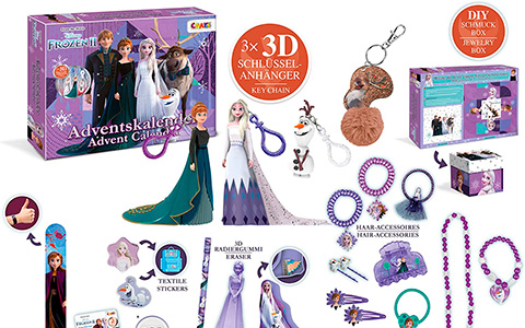 Frozen 2 Advent Calendar 2020 with figure key chans, stationery, hair accessoires and more from CRAZE