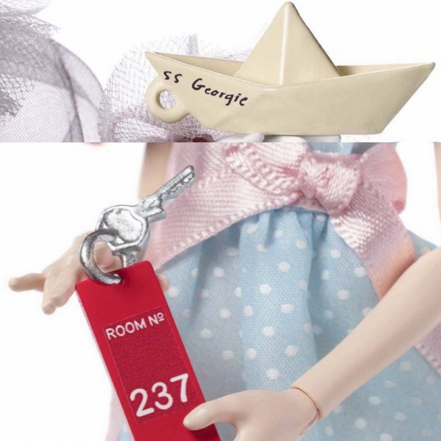 The MonsterHigh Pennywise comes with an S.S. Georgie boat and The Grady Twins come with a key to Room 237