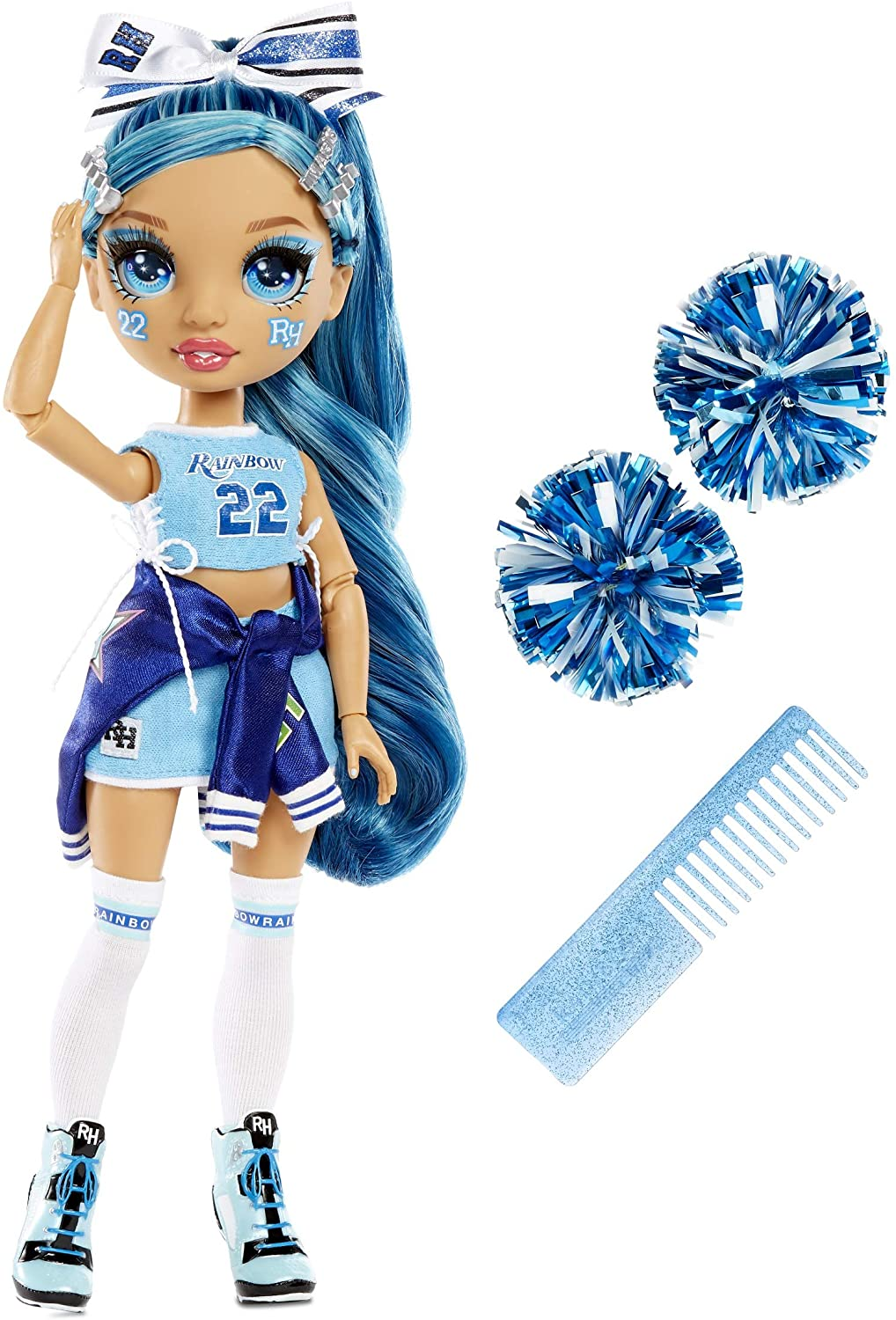Designer Clothes Sunny Madison Toys for Kids Ages 6-12 Years Old Rainbow High Cheer Collectible Fashion Dolls Rainbow High Cheer Series Yellow Pom Poms /& Cheerleader Doll