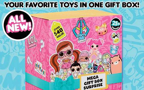 MGA Mega Gift Box Surprise and Deluxe Mega Gift Box Surprise - Mystery Gift Boxes with 25 + or 35+ Surprises