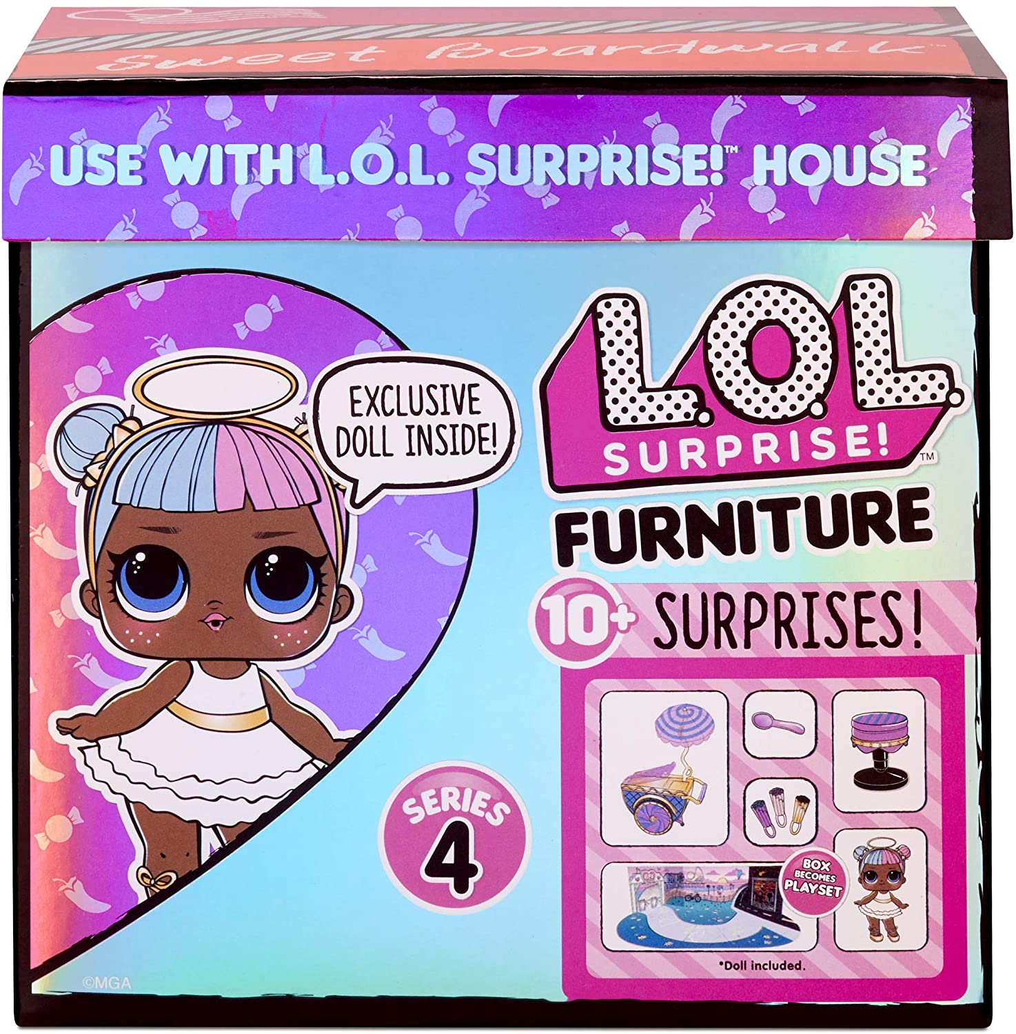LOL Surprise Furniture Cozy Zone with Dusk Doll and 10 Accessories Doll Bedroom Furniture Set Surprises