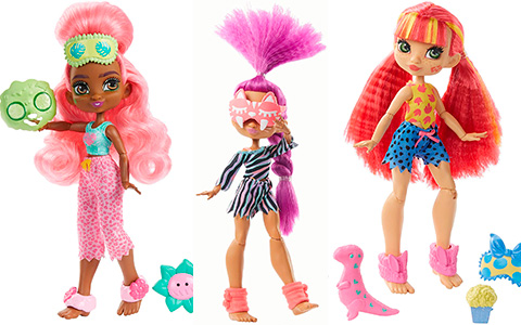 Cave Club Rock 'n Wild Sleepover dolls Fernessa, Roaralai and Emberly