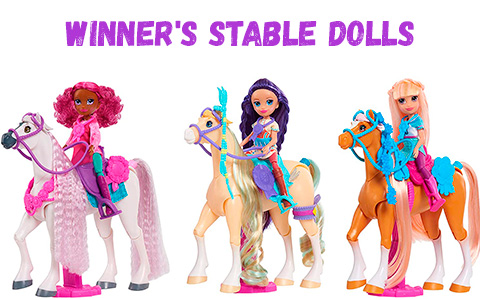 Winner's Stable dolls with horses: Oakley, Kimi and Madison