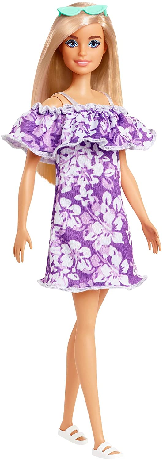 Barbie Loves the Ocean, blonde purple floral dress with ruffle doll