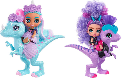 Mattel Cave Club Cave Tots dolls with dinosaurs