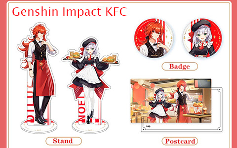Genshin Impact KFC collaboration acrylic stands, badges and postcard - where you can get them
