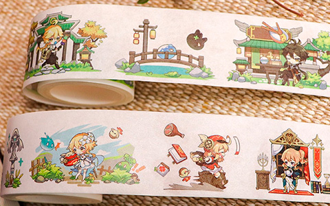Super cute Genshin Impact washi tape with Venti, Zhongli, Diluc, Keqing, Klee and other characters