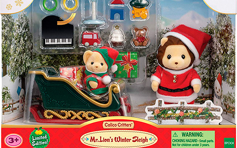 Calico Critters Sylvanian Families limited edition Christmas set: Mr. Lion's Winter Sleigh